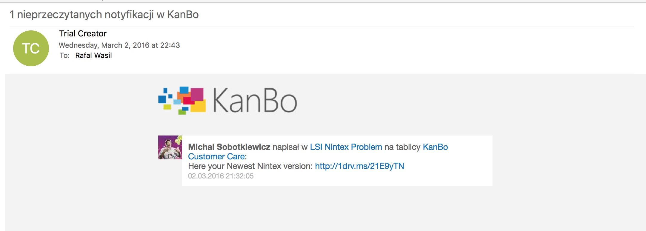 Turn on email notifications on KanBo